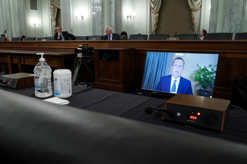 Facebook CEO Mark Zuckerberg testifies remotely during a Senate Commerce, Science, and Transportation Committee hearing with Big Tech companies on Capitol Hill in Washington on Oct. 28, 2020.