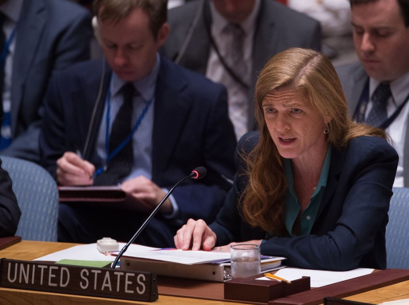 United States Ambassador to the UN Samantha Power speaks during a United Nations Security Council emergency meeting on the situation in Syria, at the United Nations September 25, 2016 in New York.  (Bryan R. Smith/AFP via Getty Images)