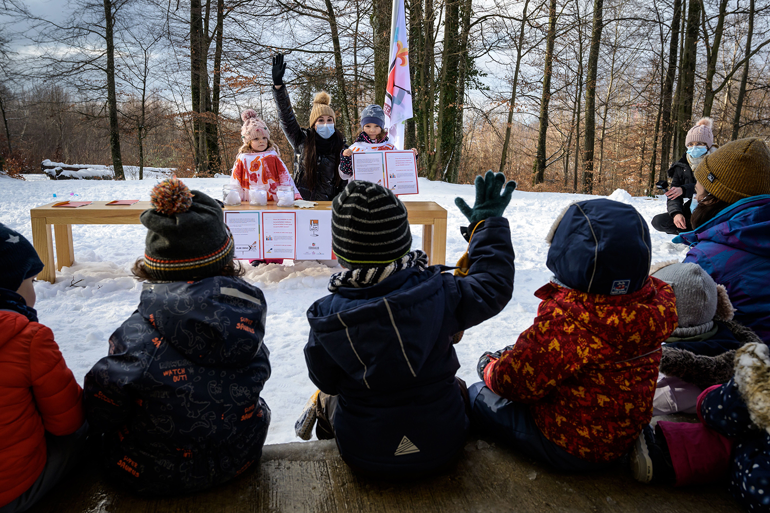 Swiss preschoolers participate in a simulated election in Lausanne on Jan. 18. The children were casting ballots in their pretend village—part of a growing push in Switzerland to prepare youths for taking part in the country's unique direct democratic system in which citizens are called to vote on a wide range of topics every few months. FABRICE COFFRINI/AFP via Getty Images