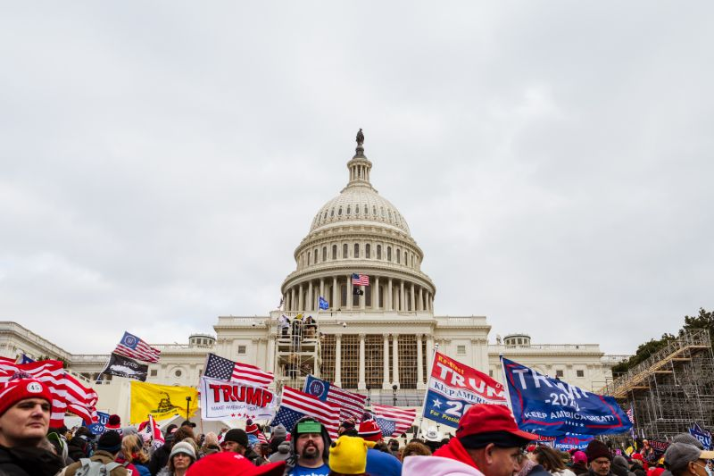 A large group of supporters of U.S. President Donald Trump raise signs and flags on the grounds of the Capitol