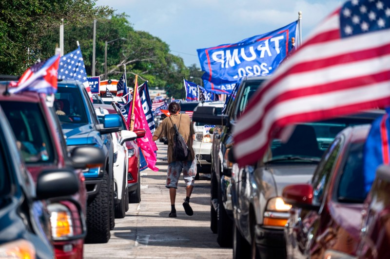 Supporters of U.S. President Donald Trump in Miami