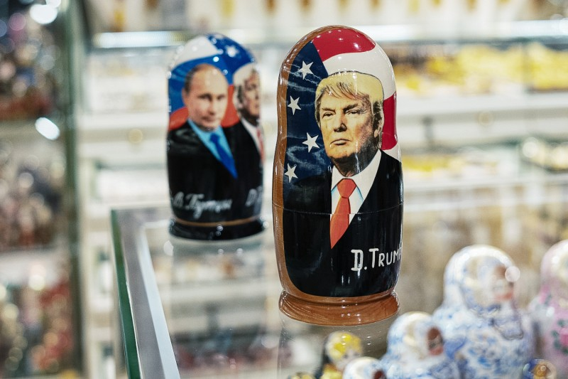 A souvenir shop displays Matryoshka dolls featuring Russian President Vladimir Putin and U.S. President Donald Trump in Moscow on Dec. 3, 2019.