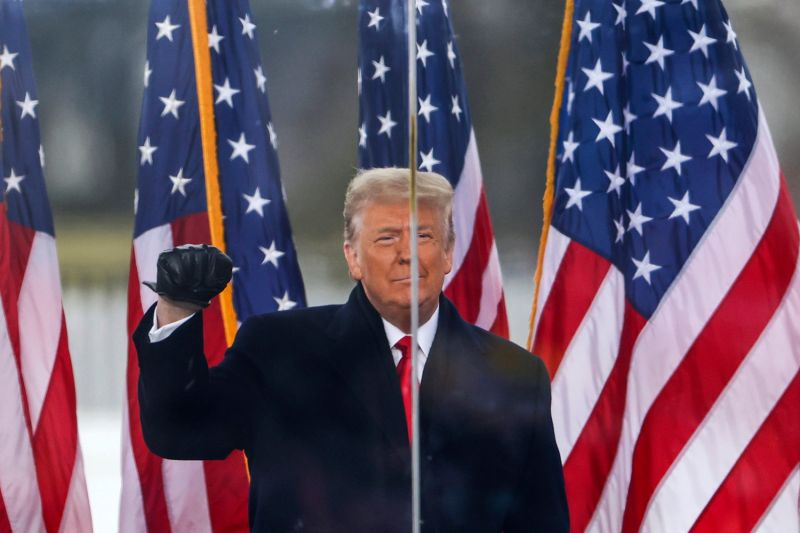 U.S. President Donald Trump addresses his supporters at a rally near the White House in Washington before the attack on the Capitol on Jan. 6.