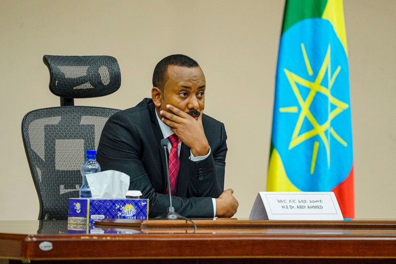 Ethiopian Prime Minister Abiy Ahmed looks on at the House of Peoples Representatives in Addis Ababa, Ethiopia, on Nov. 30, 2020.