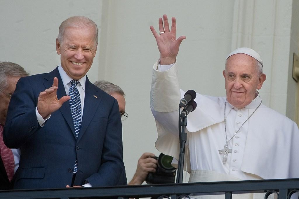 Pope Francis is joined by then-Vice President Joe Biden