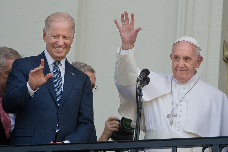 Pope Francis is joined by then-Vice President Joe Biden