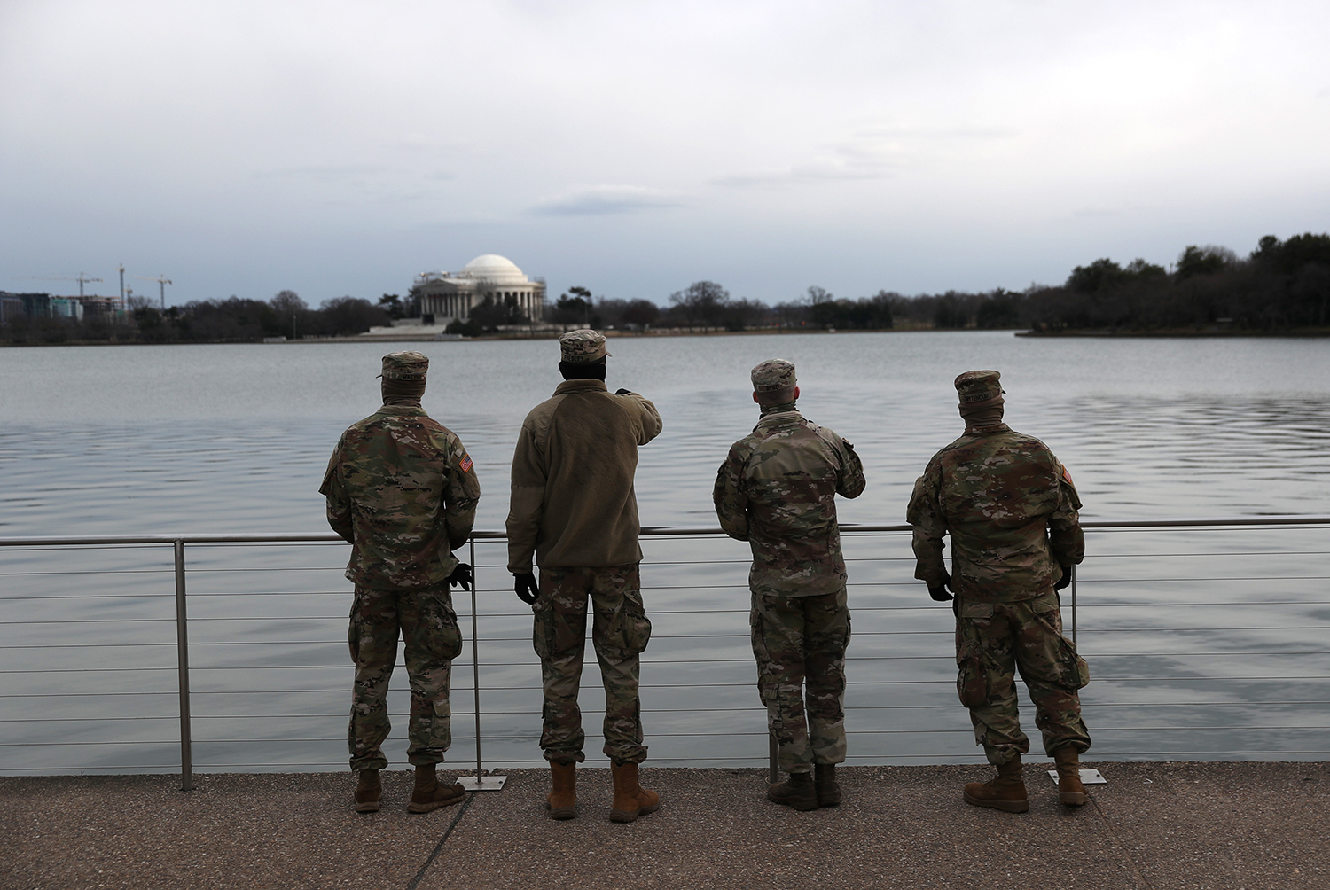 Members of the Florida National Guard view the Jefferson Memorial from along the Tidal Basin in Washington on Jan. 16.