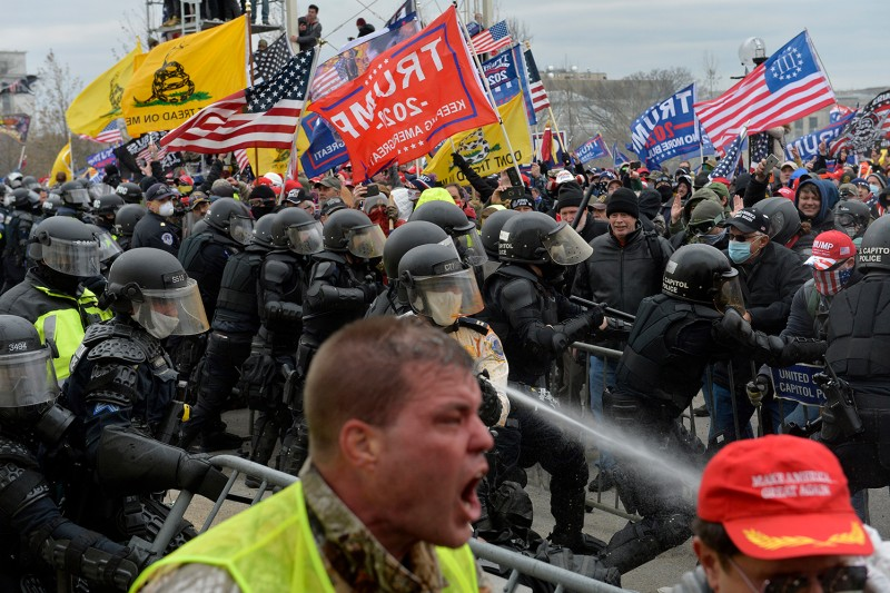 Trump supporters clash with police and security forces as people storm the U.S. Capitol in Washington on Jan. 6.