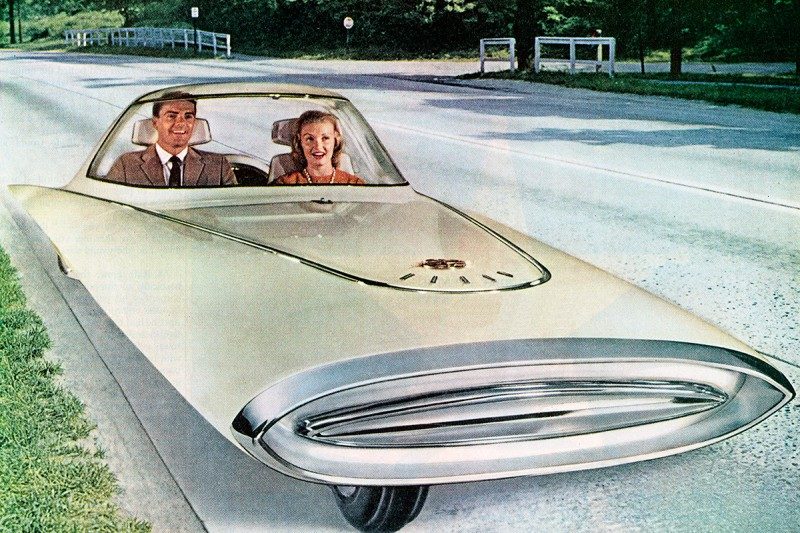 "A vintage illustration of a futuristic three-wheeled self-driving '""dream car"" from 1961."