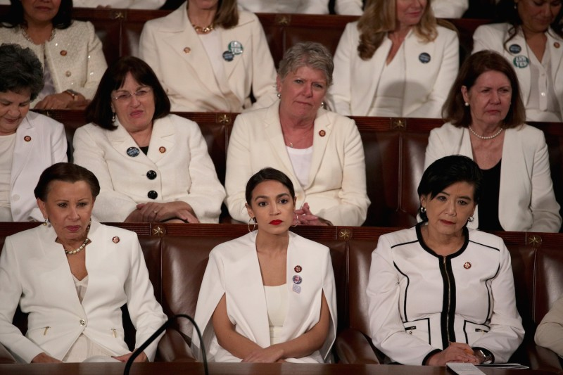 Rep. Alexandria Ocasio-Cortez watches President Donald Trump's State of the Union address