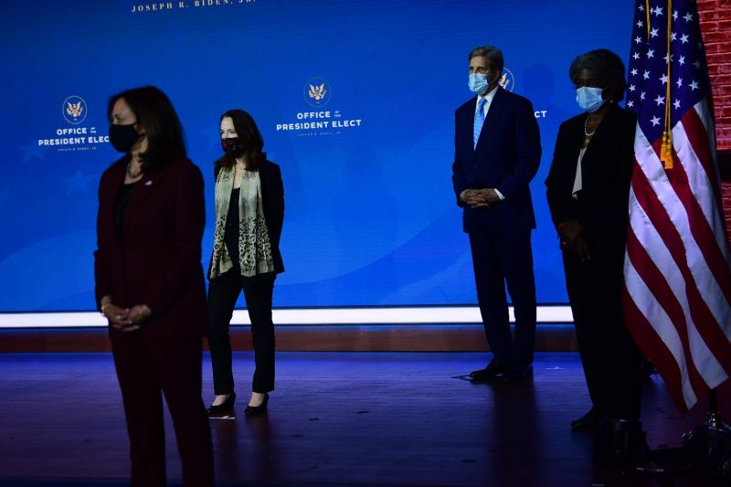 Vice President-elect Kamala Harris, Director of National Intelligence nominee Avril Haines, U.S. climate envoy John Kerry, and U.S. Ambassador to the United Nations nominee Linda Thomas-Greenfield at the Queen Theater in Wilmington, Delaware, on Nov. 24, 2020.