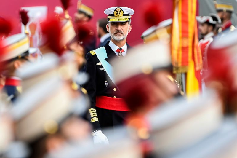 King Felipe of Spain attends the National Day Military Parade on Oct. 12, 2019 in Madrid.