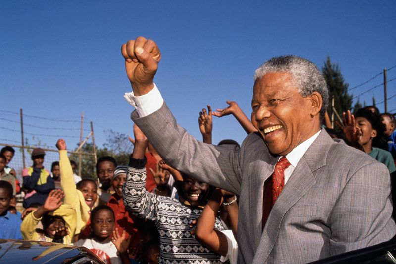 Nelson Mandela visits Hlengiwe School in Johannesburg on May 1, 1993.