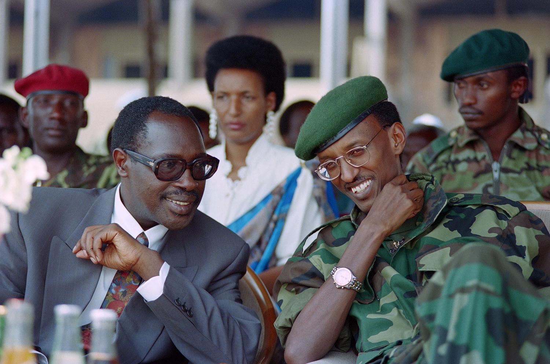 Rwanda's newly elected Hutu President Pasteur Bizimungu (left) and his Vice President Paul Kagame, the Tutsi-led Rwandan Patriotic Front commander, in Kigali on July 19, 1994.