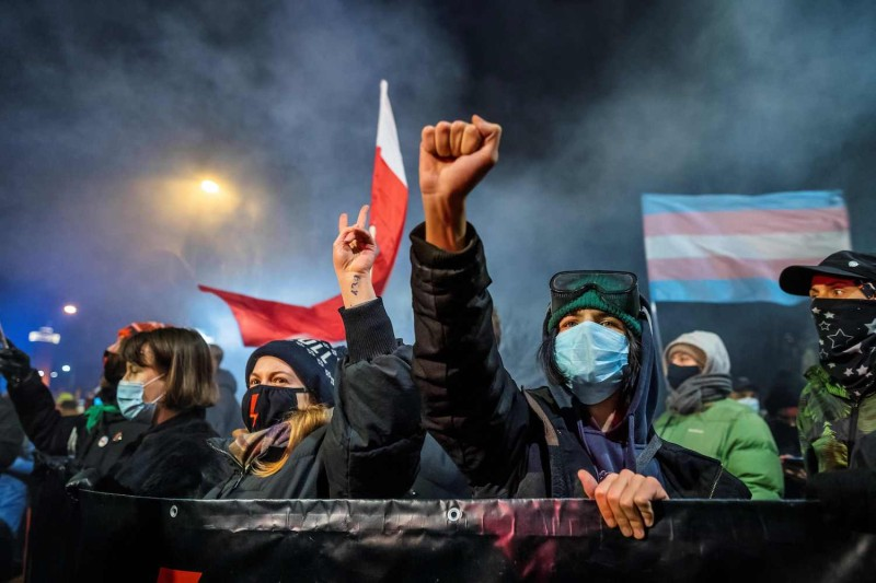 A demonstrator gestures as people take part in a pro-choice protest in Warsaw, Poland, on Jan. 27.