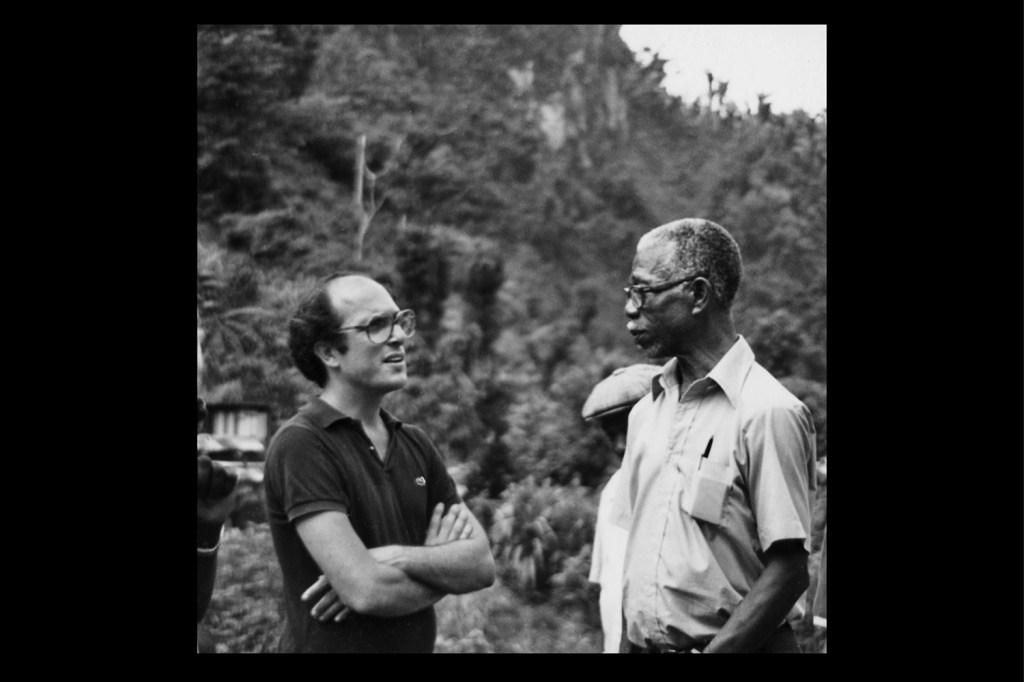 Robert Gersony (left) in Dominica in 1979.