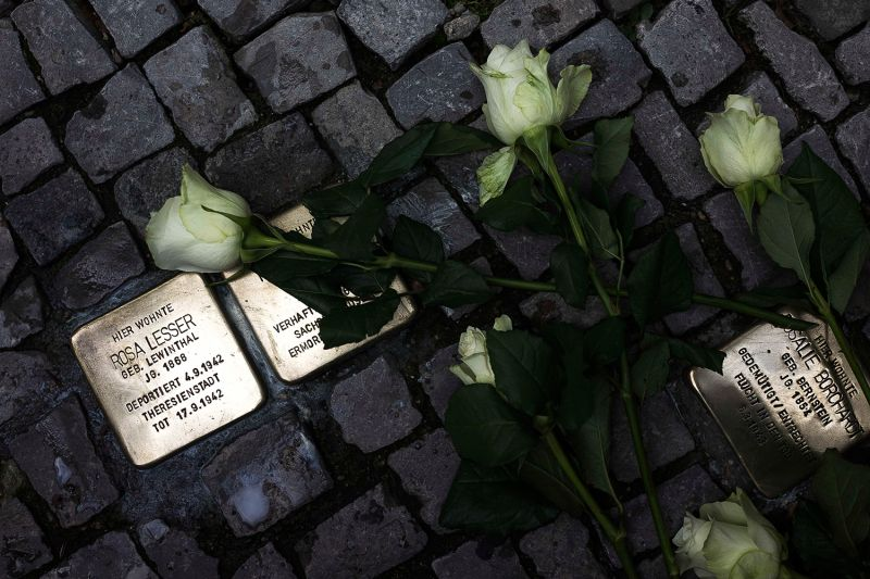 Roses rest on the ground between Stolpersteine, brass stumbling blocks for victims of the Holocaust, to commemorate the 75th anniversary of the Kristallnacht pogroms in Berlin on Nov. 9, 2013.