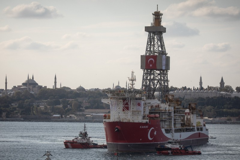 The Turkish drilling vessel Kanuni arrives for mechanical operations at Haydarpasa Port in Istanbul on Oct. 19, 2020.