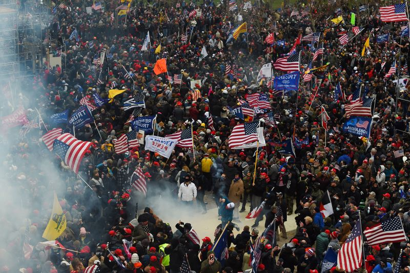 Pro-Trump rioters clash with police and security forces as they storm the U.S. Capitol in Washington on Jan. 6.