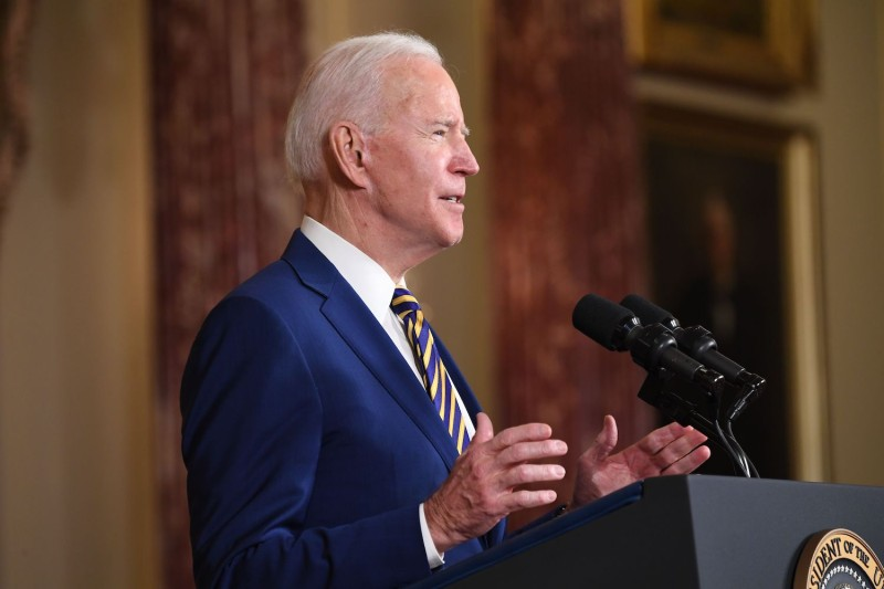 U.S. President Joe Biden speaks about foreign policy at the State Department in Washington on Feb. 4.