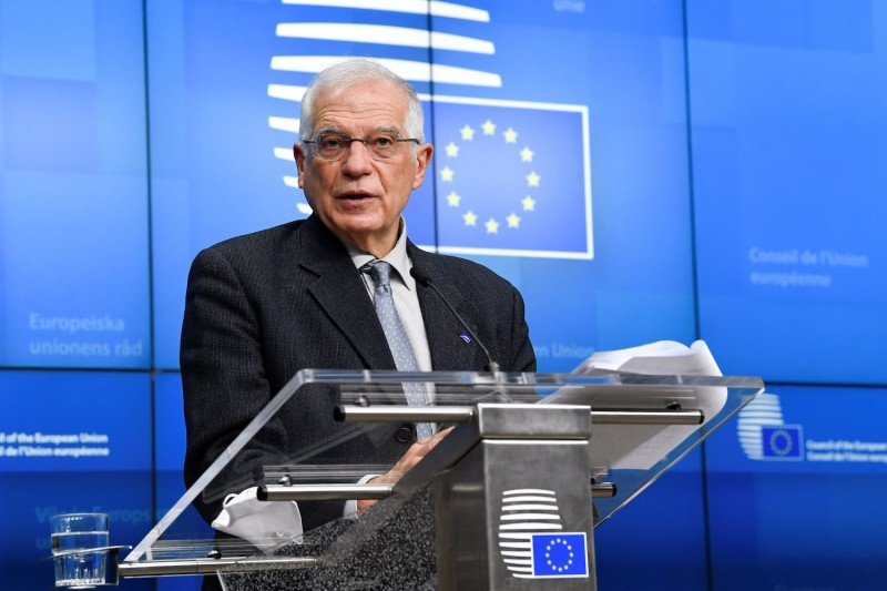 European Union for Foreign Affairs and Security Policy Josep Borrell speaks during press conference following a meeting with EU Ministers of Foreign Affairs at the EU headquarters, in Brussels, on January 25, 2021.