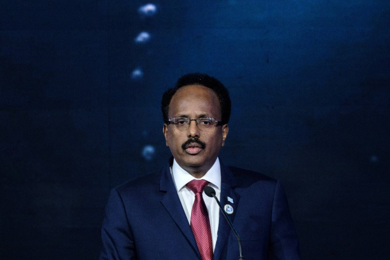 Somali President Mohamed Abdullahi Mohamed, also known as Farmajo, delivers a speech in Nairobi on Nov. 26, 2018.
