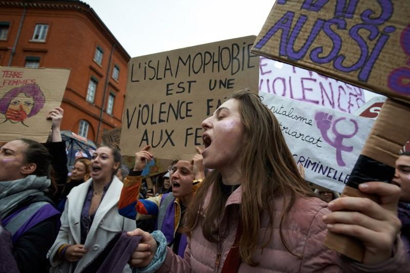International Day for the Elimination of Violence Against Women protesters in France