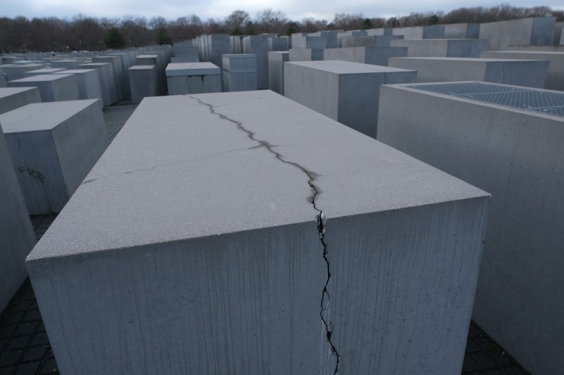 A crack cuts through one of the thousands of stellae at the Memorial to the Murdered Jews of Europe, also called the Holocaust Memorial, on Jan. 29, 2019 in Berlin.