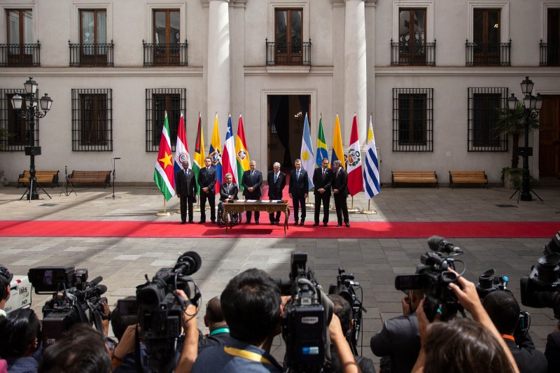 Officials attend the signing of a declaration to kick off the Prosur regional initiative at La Moneda presidential palace in Santiago, on March 22, 2019.