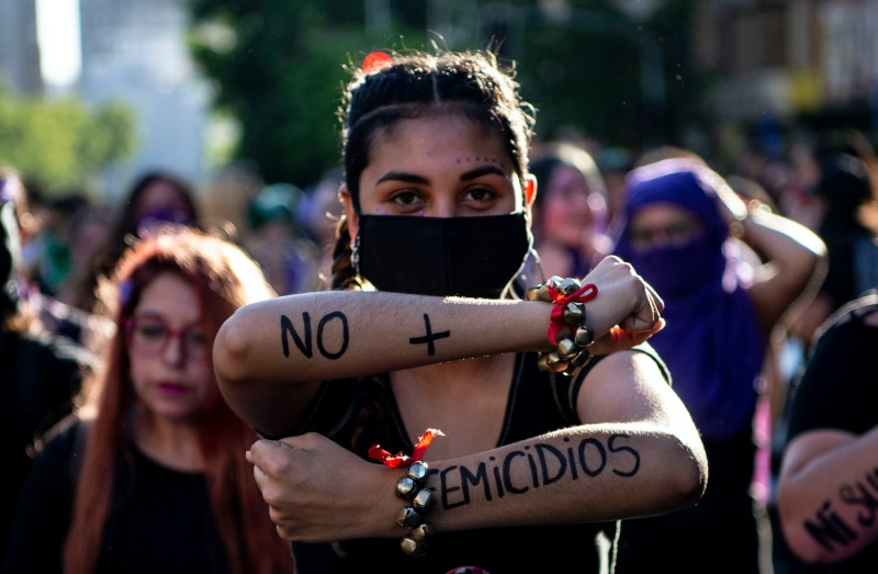 Women take part in a demonstration during the International Day for the Elimination of Violence against Women in Santiago, Chile, on Nov. 25, 2020.
