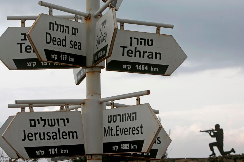 A cutout of an Israeli soldier is seen behind signs pointing out distances to different cities at an army post in Mount Bental in the Israeli-annexed Golan Heights, on November 28, 2020.