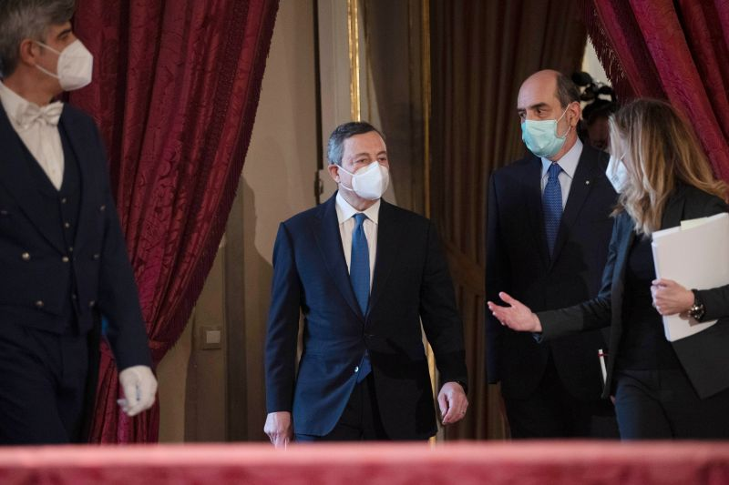 Mario Draghi arrives to give a speech after a meeting with the Italian president, at the Quirinal palace in Rome, on Feb. 3, 2021.