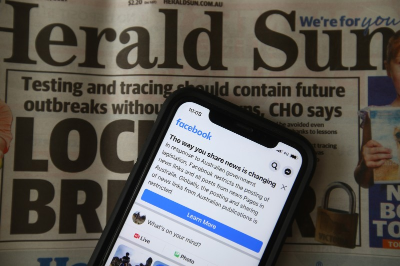 A warning message for Australian Facebook users appears ahead of proposed legislation forcing tech platforms to share revenues with news publishers.