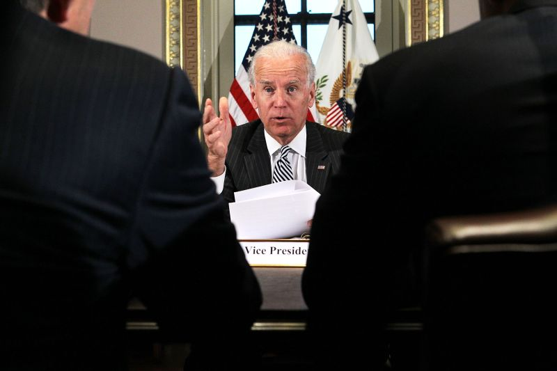 Joseph Biden speaks during a meeting with representatives from the video game and entertainment industries Jan. 11, 2013 at the Eisenhower Executive Office Building of the White House in Washington.