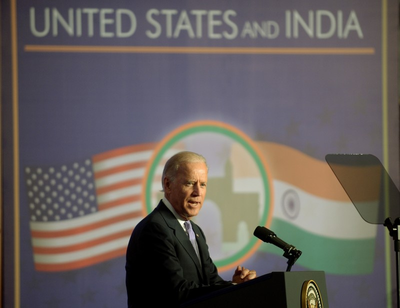 Joe Biden addresses a gathering of Indian businessmen at the Bombay Stock Exchange (BSE) in Mumbai on July 24, 2013.