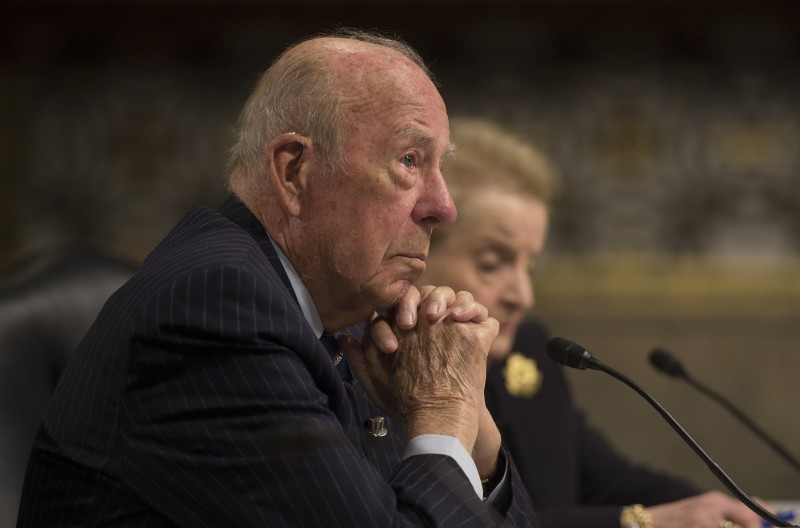 Former U.S. Secretary of State George Shultz testifies before the Senate Armed Services Committee on Capitol Hill in Washington on Jan. 29, 2015.