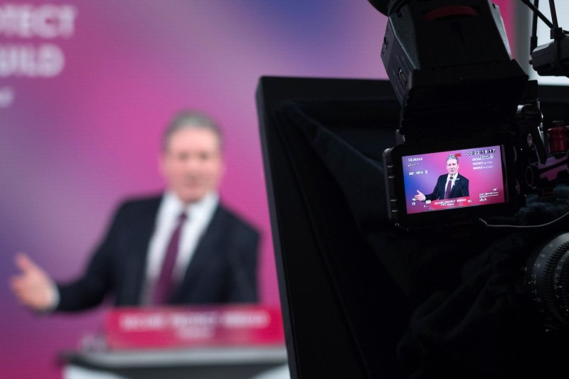Britain's main opposition Labour Party leader, Keir Starmer, delivers a virtual speech on his party's vision for the country's economic future at Labour headquarters in central London on Feb. 18.