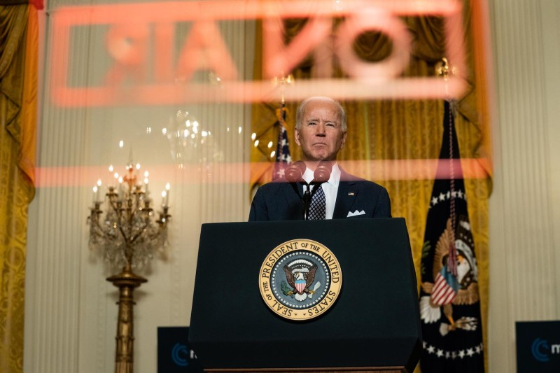 U.S. President Joe Biden delivers remarks at a virtual event hosted by the Munich Security Conference in the East Room of the White House in Washington on Feb. 19.