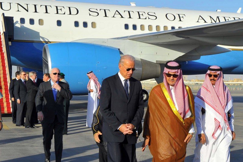 Saudi Foreign Minister Saud al-Faisal welcomes U.S. Vice President Joe Biden at Riyadh Air Base in Saudi Arabia, on Oct. 27, 2011.