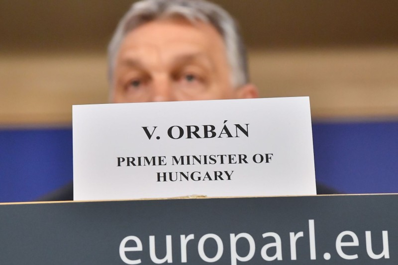 Hungary's Prime Minister Viktor Orban addresses a press conference at the end of a European People's Party meeting at the European Parliament in Brussels on March 20, 2019.