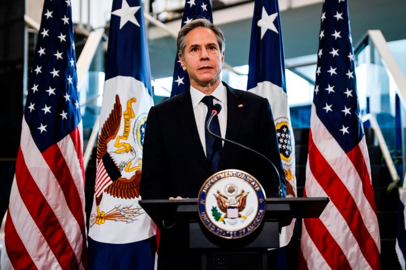 U.S. Secretary of State Antony Blinken speaks during a welcome ceremony at the State Department in Washington on Jan. 27.