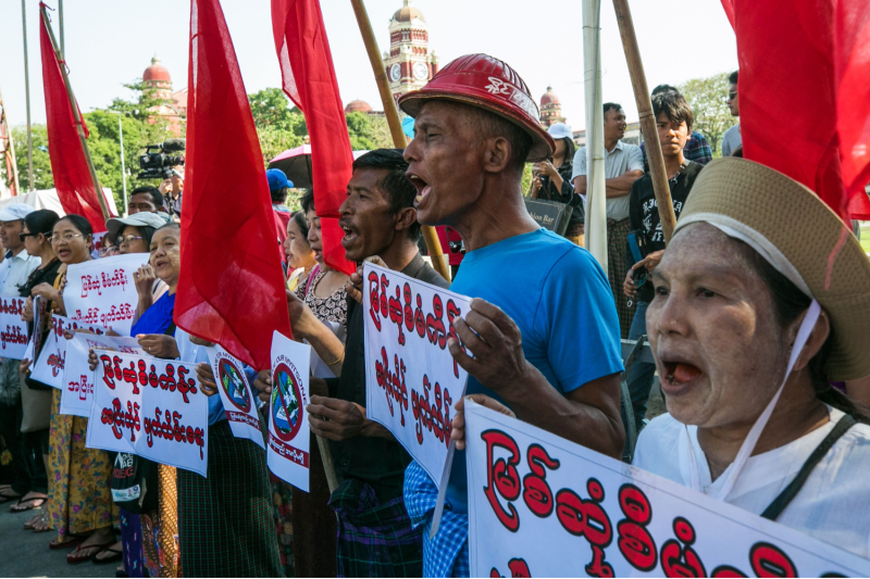 Demonstrators protest the China-backed Myitsone dam project in Myanmar