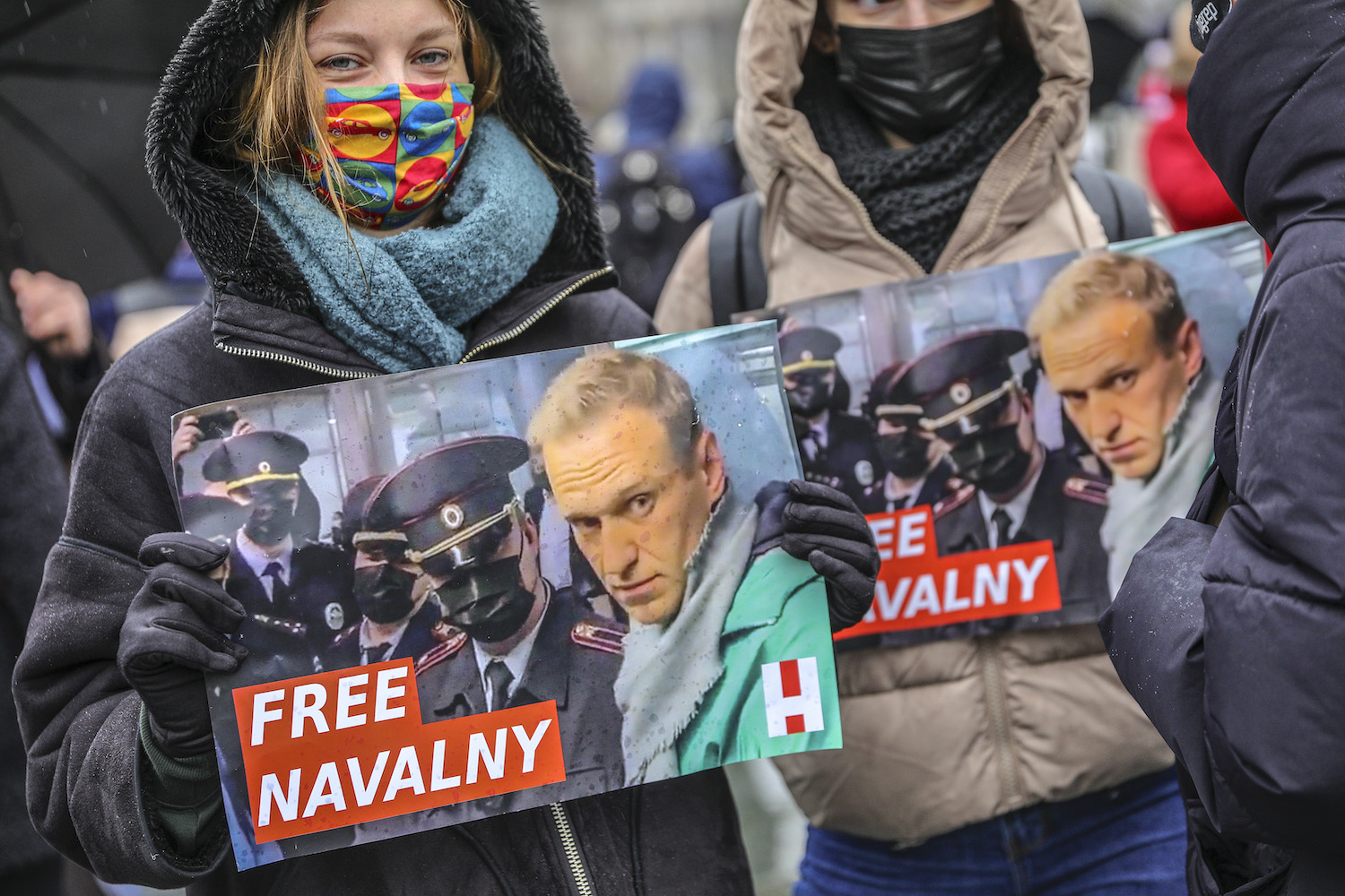 "Protesters hold a banner reading ""FREE NAVALNY"""
