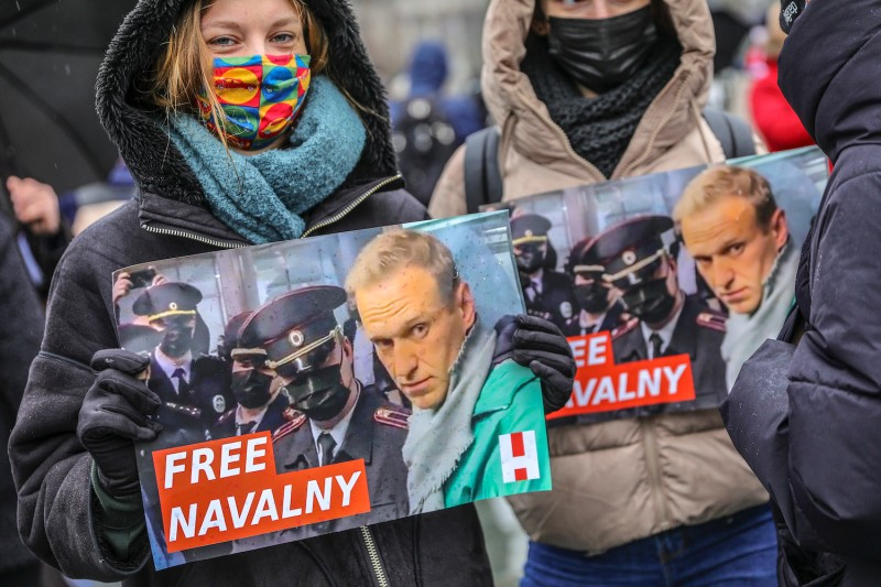 """Protesters hold a banner reading """"FREE NAVALNY"""""""
