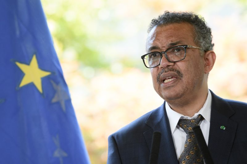 World Health Organization Director-General Tedros Adhanom Ghebreyesus speaks at a press conference after a meeting about the COVID-19 outbreak at the World Health Organization headquarters in Geneva on June 25, 2020.