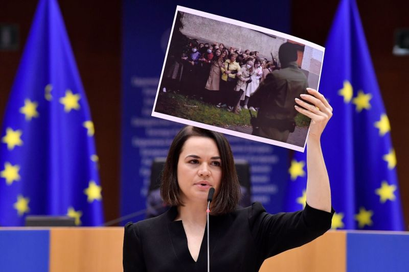 Belarusian opposition leader Svetlana Tikhanovskaya delivers a speech as she receives the Sakharov Prize for human rights during the award ceremony at European Parliament in Brussels on Dec. 16, 2020.