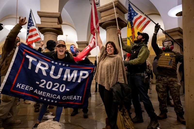 Supporters of U.S. President Donald Trump protest inside the U.S. Capitol