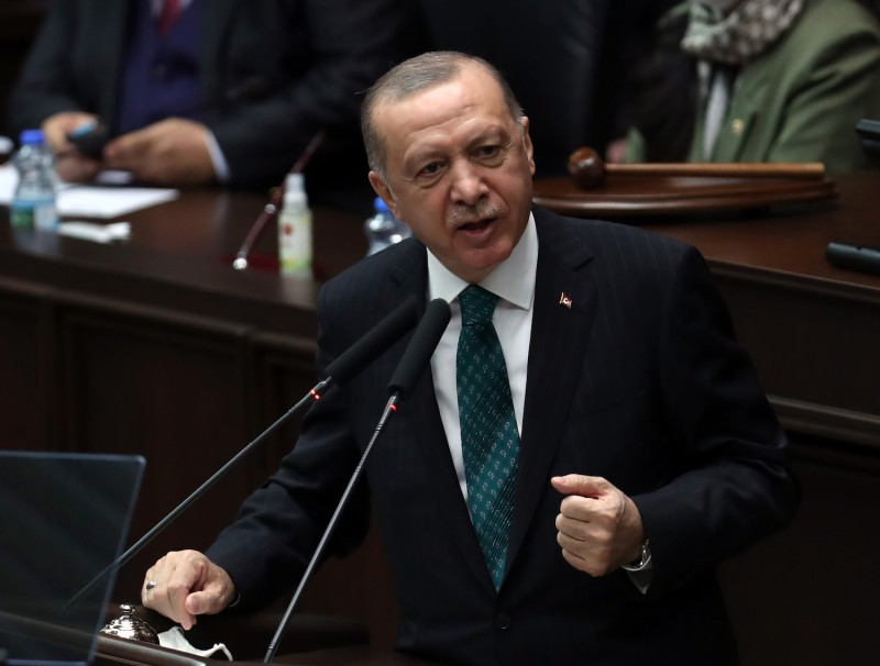 Turkish President and leader of the Justice and Development Party (AK Party) Recep Tayyip Erdogan speaks during his party's group meeting at the Turkish Grand National Assembly in Ankara on February 10, 2021.