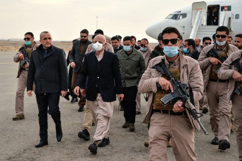 Afghan President Ashraf Ghani arrives with the government delegation during a visit in Herat province, Afghanistan, on Jan. 21.