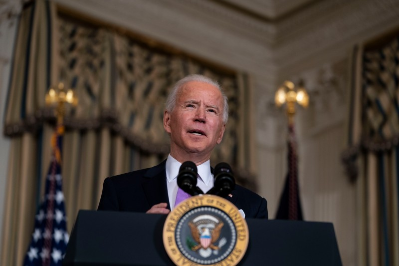 U.S. President Joe Biden speaks at the White House in Washington on Jan. 26.